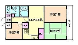 大阪府豊中市上野西4丁目の賃貸マンションの間取り