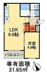 JR京葉線 稲毛海岸駅 徒歩15分の賃貸マンション 4階1LDKの間取り
