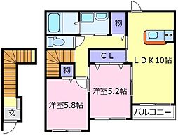 大阪府大阪狭山市池尻中3丁目の賃貸アパートの間取り