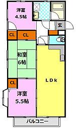 栃木県小山市西城南3丁目の賃貸アパートの間取り