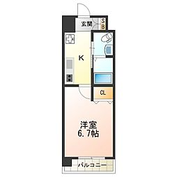 Osaka Metro御堂筋線 西田辺駅 徒歩2分の賃貸マンション 3階1Kの間取り