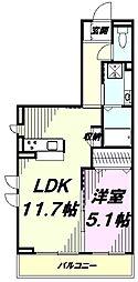JR中央線 豊田駅 徒歩7分の賃貸アパート 3階1LDKの間取り