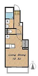 京王相模原線 多摩境駅 徒歩6分の賃貸アパート 1階ワンルームの間取り