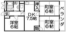北田ハイツ[2階]の間取り