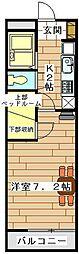 東武東上線 上福岡駅 徒歩9分の賃貸マンション 2階1Kの間取り