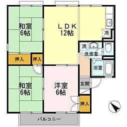 愛知県岡崎市赤渋町字袖広の賃貸アパートの間取り