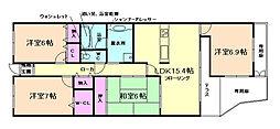 兵庫県川西市丸山台1丁目の賃貸マンションの間取り