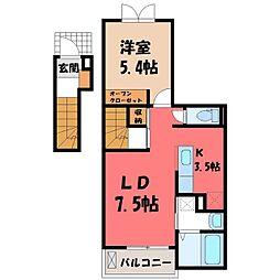 栃木県宇都宮市八千代1丁目の賃貸アパートの間取り