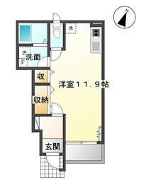冨士新築アパートB棟[1階]の間取り