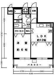 ライオンズマンション博多[413号室]の間取り