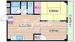 阪急千里線 千里山駅 徒歩11分の賃貸マンション 6階2LDKの間取り