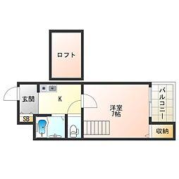 阪神なんば線 伝法駅 徒歩11分の賃貸マンション 5階1Kの間取り