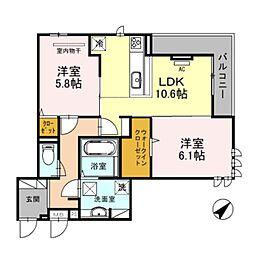 南海線 泉大津駅 徒歩8分の賃貸アパート 1階2LDKの間取り