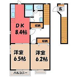 栃木県宇都宮市大曽3の賃貸アパートの間取り