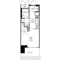 東京メトロ南北線 六本木一丁目駅 徒歩2分の賃貸マンション 2階1Kの間取り