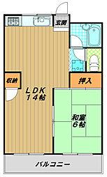 高取台ハイツ[3階]の間取り