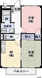 静岡県藤枝市上藪田の賃貸アパートの間取り
