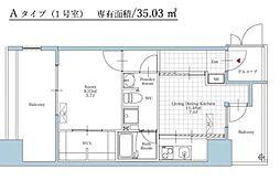 福岡市地下鉄空港線 大濠公園駅 徒歩3分の賃貸マンション 6階1DKの間取り