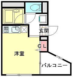 JR東北本線 東大宮駅 徒歩3分の賃貸マンション 2階ワンルームの間取り
