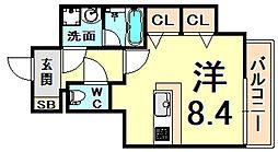 阪神本線 西宮駅 徒歩5分の賃貸マンション 7階ワンルームの間取り