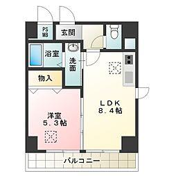 トリニティ・コート新金岡 6階1LDKの間取り