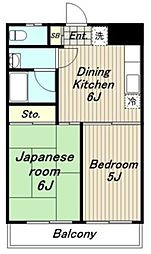 東京都稲城市大丸の賃貸マンションの間取り