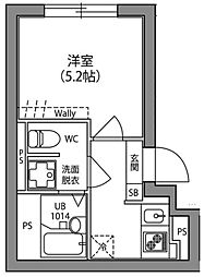 JR中央線 阿佐ヶ谷駅 徒歩13分の賃貸マンション 5階1Kの間取り