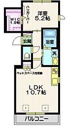 東急東横線 自由が丘駅 徒歩14分の賃貸マンション 3階1LDKの間取り