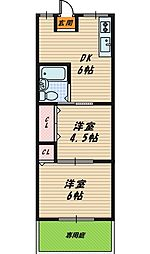 大阪府大阪市旭区高殿1丁目の賃貸アパートの間取り