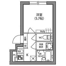 Hi−Five阿佐ヶ谷 2階1Kの間取り