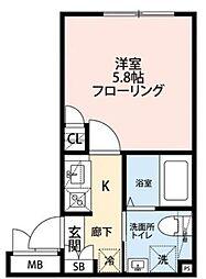 プロスペリティ・カーサ下北沢 1階1Kの間取り