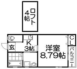バレルハウス星田[2階]の間取り