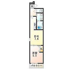フジパレス太子橋V番館 3階1DKの間取り