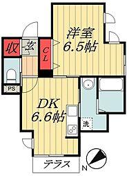 京成本線 市川真間駅 徒歩4分の賃貸マンション 1階1DKの間取り