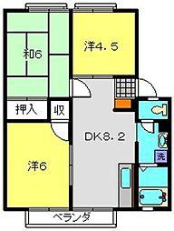 コズミックシティ宮沢第一C[2階]の間取り