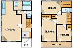 小田急小田原線 町田駅 バス12分 木曽下車 徒歩2分の賃貸一戸建て 2階3LDKの間取り