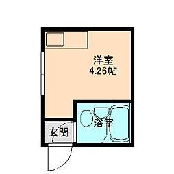 阪急神戸本線 十三駅 徒歩15分の賃貸マンション 1階ワンルームの間取り