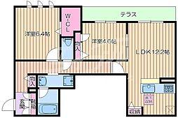JR東海道・山陽本線 岸辺駅 徒歩8分の賃貸アパート 1階2LDKの間取り