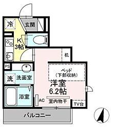 小田急小田原線 生田駅 徒歩5分の賃貸アパート 3階1Kの間取り