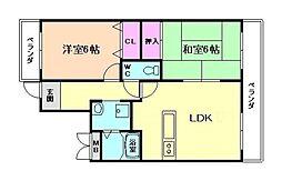 おおさか東線 城北公園通駅 徒歩4分の賃貸マンション 2階2LDKの間取り
