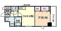アドバンス西梅田II 6階1DKの間取り