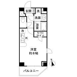東京メトロ東西線 九段下駅 徒歩9分の賃貸マンション 13階ワンルームの間取り