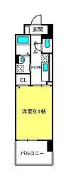 グラース武蔵浦和 3階1Kの間取り