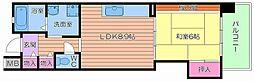 UR都島リバーシティ8号棟 8階1LDKの間取り
