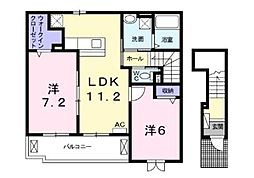 神奈川県海老名市中野1丁目の賃貸アパートの間取り