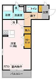 クレスト登戸 3階ワンルームの間取り