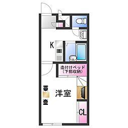 南海線 紀ノ川駅 徒歩12分の賃貸アパート 2階1Kの間取り