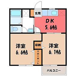 栃木県さくら市卯の里2丁目の賃貸アパートの間取り