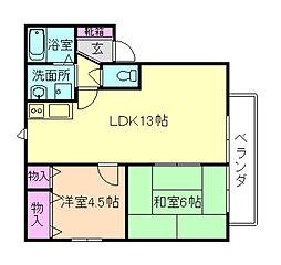 大阪府豊中市西緑丘3丁目の賃貸アパートの間取り