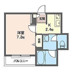 仮)新宿区百人町1丁目シャーメゾン 1階1Kの間取り